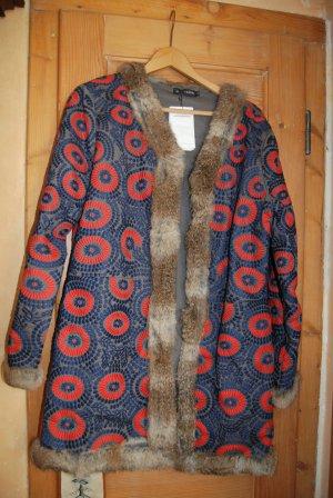Antik Batik Jacke mit Pelz
