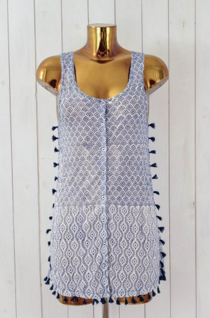 ANTIK BATIK Kleid Longtop Top Blau Weiß Ethno Trottel Knopfleiste Gr.S/ 38 Neu!