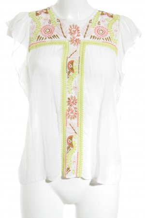 Antik Batik Kurzarm-Bluse Batikmuster Boho-Look