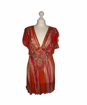 Antik Batik Tunika Seidentop top Seide bunt rot grau Schmucksteine M 36 38 neu