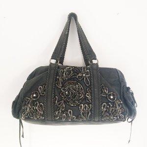 Antik Batik Vintage Leder Tasche aufwendig bestickt Tote Bag Shopper Anthrazit