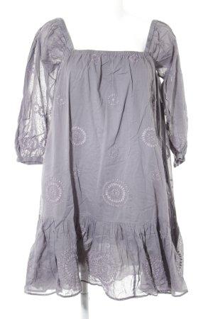 Antik Batik Volante jurk grijs-mauve abstract patroon casual uitstraling