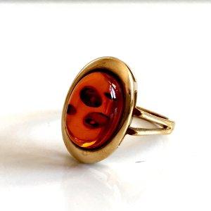 Antik Bernstein Ring Silber Gold 835er echt Silberring vergoldet