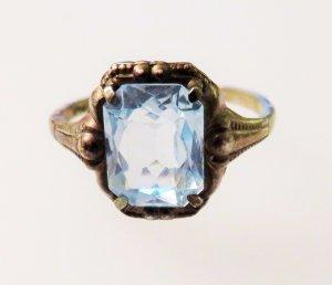 Antik ca. 1930 Jugendstil Art Déco Damen Ring 835 Silber aqua blau stein