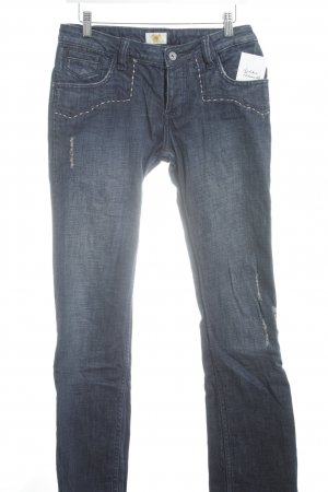 Antik Denim Hüftjeans dunkelblau Used-Optik