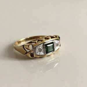 Antik Diamanten Ring Turmalin Gold 585 Goldring Bicolor Weissgold Gelbgold Art deco
