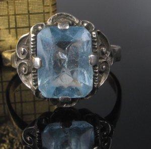 Antik Echt Silber Sterling 925 Ring Jugendstil echt Edelstein Aquamarin farbener Spinell