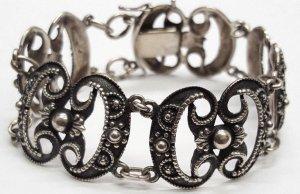 Antik Echtsilber Gliederarmband 835er Silberarmband Verzierungen silber