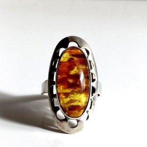 Antik Fischland Bernstein Amber Ring 835er echt Silber Natur Baltic Georg Kramer 60er 70er