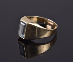 Antik Gold Ring Aqua / himmelblau Stein 8kt / 333er Gelbgold Vintage