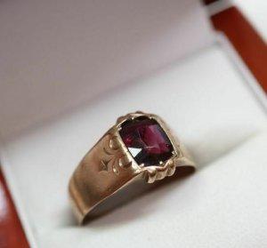 Antik Granatring 333 Gold Ring goldring Edelstein rot 8k