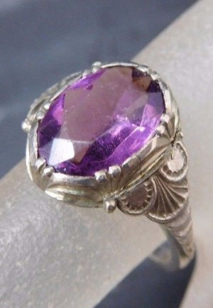 Vintage Silver Ring silver-colored-lilac real silver