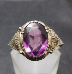 Antik Jugendstil 800 Silber Amethyst Edelstein Ring Silberring