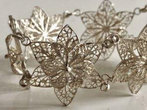 Antik Jugendstil 800 Silber Armband Sterne Silberarmband Blüte