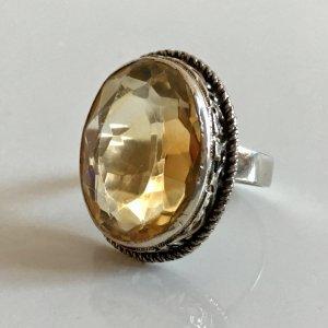 Antik Jugendstil 800 Silber Ring XL Citrin facettiert Silberring