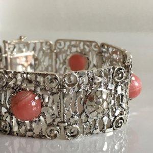 Antik Jugendstil 800er Silberamband rhodochrosit Edelstein cabochon Juwelierarbeit Meisterstück
