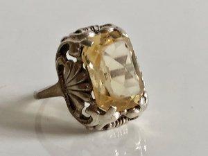 Antik Jugendstil 830 Silber Ring Silberring edel Stein Besatz citrin
