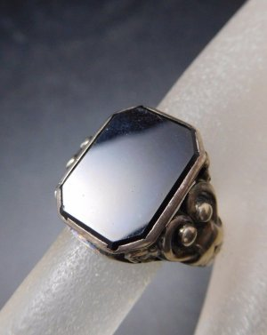 Vintage Silver Ring black-silver-colored