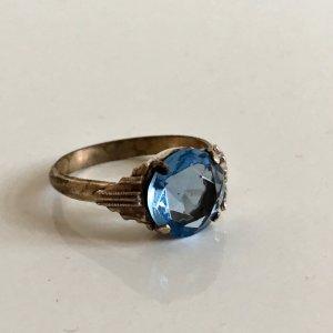 Antik Jugendstil 835 Silber Ring Silbering aqua Stein blau facettiert
