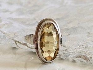 Antik Jugendstil 835 Silber Ring Silberring citrin Edelstein