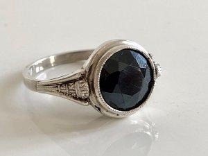 Antik Jugendstil 835 Silber Ring Silberring facettiert edelstein schwarz facettiert