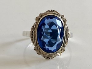 Antik Jugendstil 835 Silber Ring Silberring facettiert Stein blau