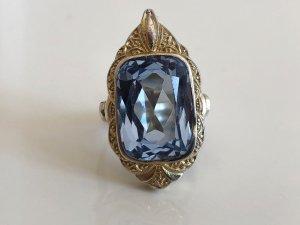 Antik Jugendstil 835 Silber Ring Silberring vg gold aqua blau Steinbesatz