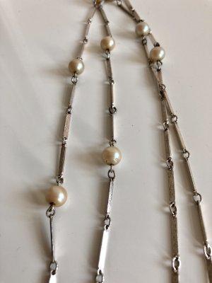 Antik Jugendstil 835 Silber Silberkette Kette Perlenkette Perlen collier 80cm