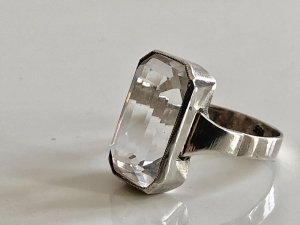 Antik Jugendstil  835er Silber Ring Bergkristall