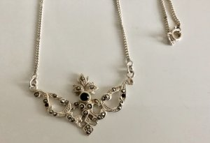 Vintage Collier Necklace black-silver-colored real silver