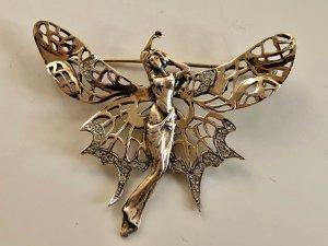 Antik Jugendstil 925 Silber Gold Brosche Italien Butterfly Engel Schmetterling Flügel Juwelierstück Sterling Bicolor