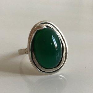 Antik Jugendstil 925 Silber Ring Jade Jadestein Jadeit grün Meisterpunze