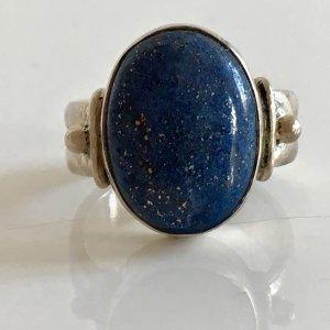 Antik Jugendstil 925 Silber Ring Lapislazuli cabochon Silberring