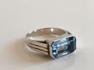 Antik Jugendstil Art Deco 800 Silber Ring Silberring aqua blau
