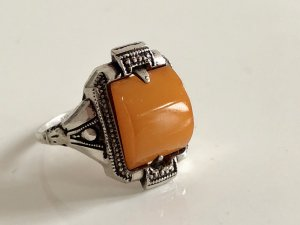 Antik Jugendstil Art deco 830 Silber Ring Silberring Butterscotch