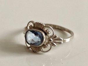 Antik Jugendstil Art Déco 835 Silber Ring  Edelstein facettiert aqua blau Silberring
