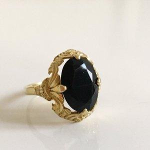 Antik Jugendstil Art Deco 835 Silber Silberring vergoldet Gold Ring Granat schwarz Edelstein