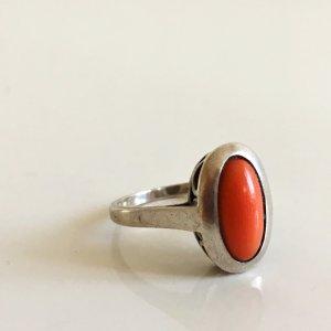 Antik Jugendstil Art Déco 925 Silber Ring Damen Koralle