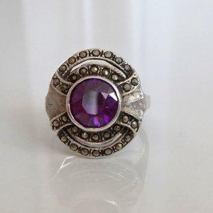 Antik Jugendstil Art deco Amethyst Sterling Silber Ring markasiten markasit Edelstein