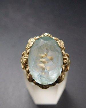 Antik Jugendstil Art Deco Blautopas Ring 835 Silber vg gold Topas Topaz Edelstein