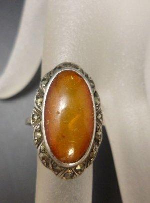 Antik Jugendstil Art deco Damen Ring 835 Silber Bernstein Amber & Markasit