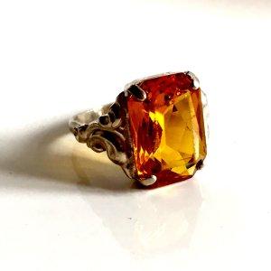 Antik Jugendstil Art Deco Ring 800er Silber Mandaringranat Edelstein