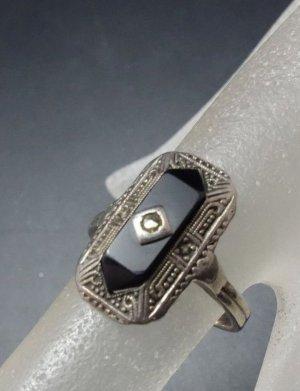 Antik Jugendstil Art Deco Ring 835er echt Silber Markasit & Onyx