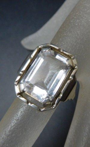 Antik Jugendstil Art deco Ring 900 Silber kristallklar Stein Edelstein Kristall echtsilber