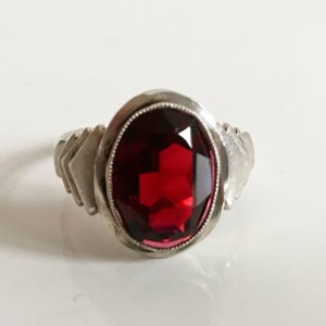 Antik Jugendstil Art deco Silberring 900er Silber Spinell Rubin rot Damen Ring