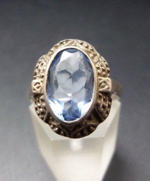 Antik Jugendstil Art Deco Topas Blautopas Ring 900 Silber 900er Echtsilber Edelstein blau