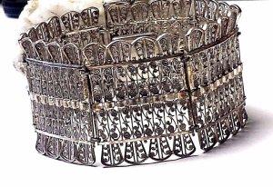 Antik Jugendstil Breites Friesenschmuck - Silber Armband 800er um 1910