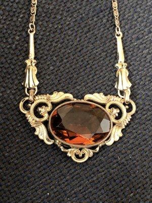 Antik Jugendstil Collier gold facettiert Stein Kette Halskette
