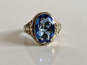 Antik Jugendstil gold 835 Silber Ring Silberring vg Gold Edelstein