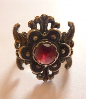 Antik Jugendstil Granat Edelstein rot 835 Silber Ring Silberring